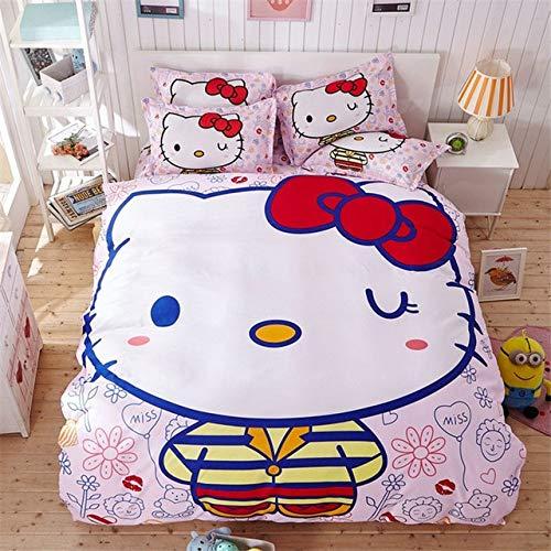 Olwen Shop Bedding Sets - 4pcs Hello Kitty Cartoon Bedding Set Kids with Duvet Cover Bed Sheet Set of Bed Linen Bedsheet Bedspread Sheets Queen Twin Size 1 PCs