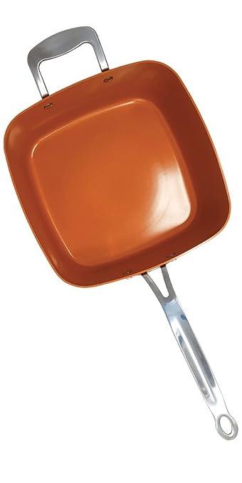 Red Copper Square Pan La sartén de cobre y cerámica Vista de TV Ultra antiadherente y antiarañazos grande 24 cm cuadrada y alta 9 cm va también de horno ...