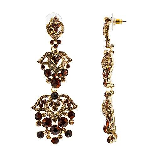 Golden Brown Earring (Gem Avenue Gold Tone Ornamental Design Golden Brown Rhinestones and Glass Post Back Dangle Earrings)