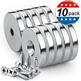 Neodymium Disc Countersunk Hole Magnets with 10 Screws, 1.26''D x 0.2''H Strong Rare Earth Magnets - Pack of 10