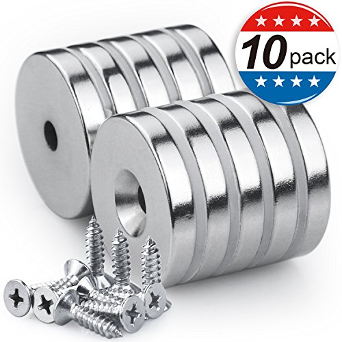 Neodymium Disc Countersunk Hole Magnets with 10 Screws, 1.26