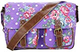 Miss Lulu Women's Canvas Satchel Bag Floral Polka Dot Design (Purple L1157F PE)