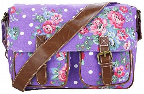Miss Lulu Women's Canvas Satchel Bag Floral Polka Dot Design (Purple L1157F PE)