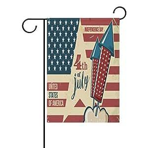 Bandera de jardín de poliéster ALAZA vintage 4 de julio de 30,48 x 45,72 cm, bandera de doble cara para decoración de boda, fiesta, decoración del hogar