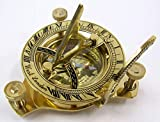 Solid Brass 3 Inch Sundial Compass, Adjustable Stand W/Box aa