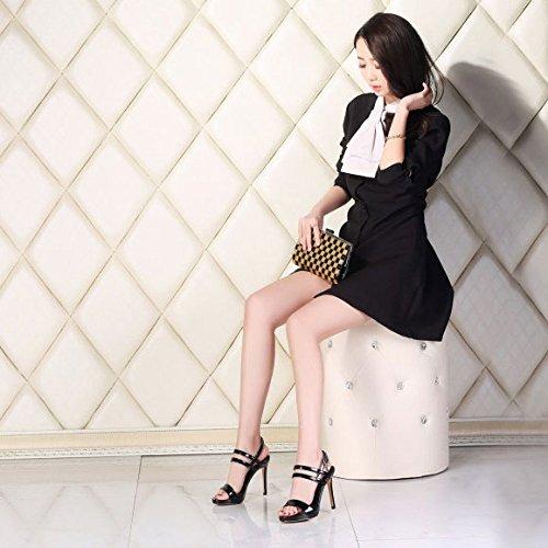 à de Finissants Chaussures Hauts Bride Bal Stiletto de Chaussures Black pour Femmes pour Fines DKFJKI Table pour Ouvert Chaussures Femmes Talons Imperméables Sandales à Bout Bqwg76w