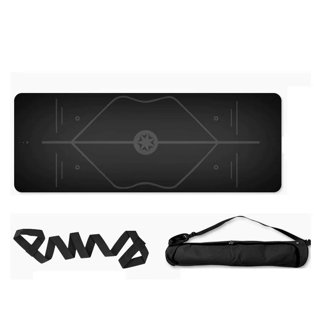 5mm Yoga-Matte Rutschfeste naturkautschuk professionelle Yoga Sport Fitness-Matte 183  68 cm (schwarz)