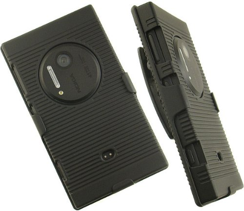 sale retailer f7d9d da8ad BLACK RUBBERIZED HARD CASE COVER BELT CLIP HOLSTER STAND FOR NOKIA LUMIA  1020