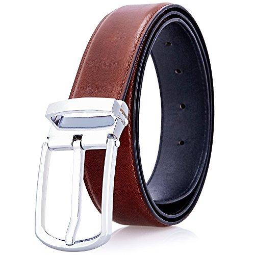 YoMeiJun Men's Leather Belt Handmade Vegetable Tanned Leather 34mm Width Brown New S