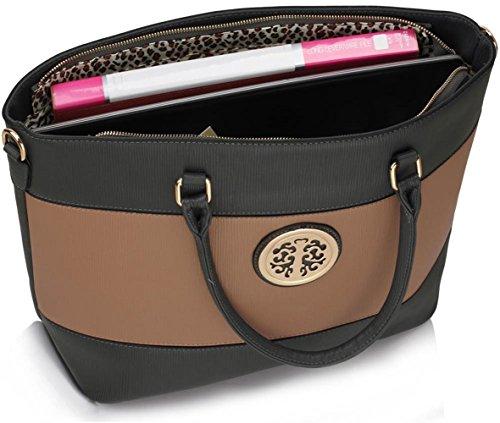 Leahward® Ladies Fashion Essener Celebrity Quality Faux Leather Shoulder Hand Borsa A Tracolla Alla Moda Cws00406 (grigio / Nudo)