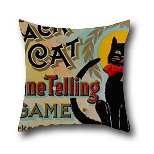 Ciwei Robby Oil Painting Black Cats Halloween Hypoallergenic, Dust Mite Pillow Cover ( 16*16 ) (Beavis Halloween)