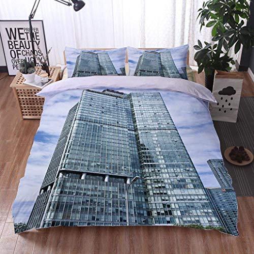 VROSELV-HOME Print Comforter Quilt Set,Fortune Plaza Office Building in Beijing CBD,Soft,Breathable,Hypoallergenic,with 1 Pillowcase for Kids ()