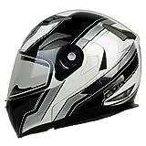 modular helmet pgr - PGR F99 COMPETITION Modular Flip Up Dual Visor Full Face with Sun Shield DOT APPROVED Motorcycle Touring MAX Helmet (Medium, White Black)