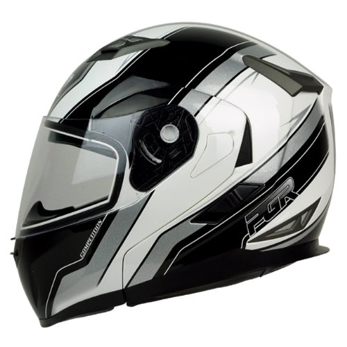 PGR F99 COMPETITION Modular Flip Up Dual Visor Full Face with Sun Shield DOT APPROVED Motorcycle Touring MAX Helmet (Medium, White Black)
