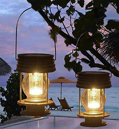 Solar Led Stake Lantern - pearlstar Multifunctional Solar Led Hanging Umbrella Lantern Lights 2 Pack Garden Outdoor Pathway Stake Lights Vintage Beach Pavilion Lanterns (Warm Light, Hanging Design)