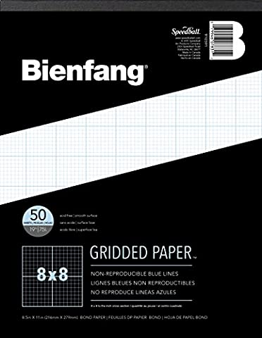Bienfang Designer Grid Paper, 50 Sheets, 8-1/2-Inch by 11-Inch Pad, 8 by 8 Cross Section - Graph Pad