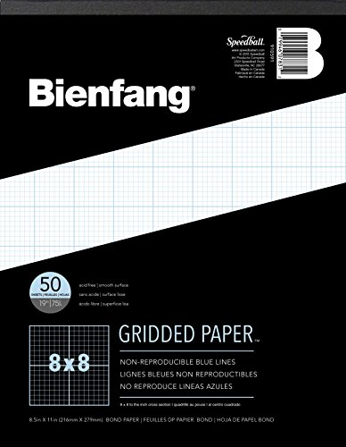 Bienfang Designer Grid Paper, 50 Sheets, 8-1/2-Inch by 11-Inch Pad, 8 by 8 Cross (Inch Grid Paper)