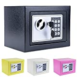 Fashine Electronic Lock Security Safe Box with Deadbolt Lock Wall-Anchoring Design,8.9'' X 6.5'' X 6.5'',Black (US Stock)