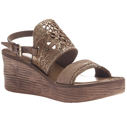 OTBT Hippie Wedge Sandals - Gold Leather - Womens - 8 by OTBT