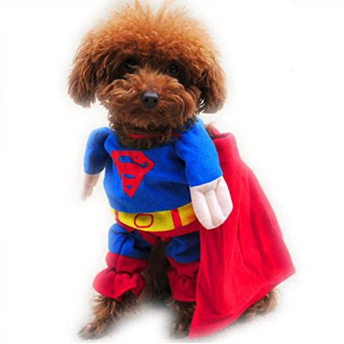 HGD® Puppy lovely Superman Pet Dog Clothes Halloween apparel Costumes Cute Jumpsuit