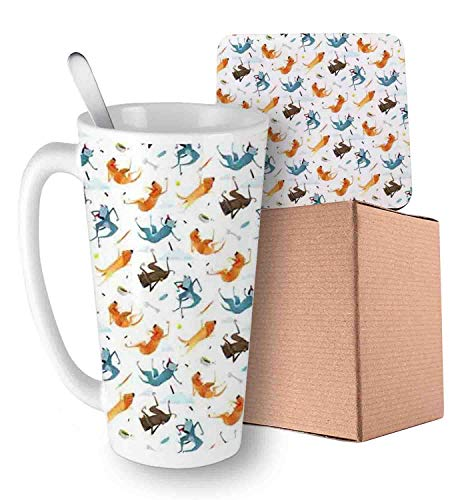 Funny Dogs Flying with Food Bowl and Bones Pets Companion Illustration Slate Blue Ginger and White Ceramic Cup with Spoon & Coaster Creative Morning Mug Milk Coffee Tea Unique Porcelain Cup Mug 16oz