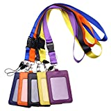 Purida 5 Pack Vertical PU Leather ID Badge Holder with Breakaway Neck Lanyard, 2-Sided ID Card Holder Wallet Case & Colorful Neck Strap (Purple, Black, Yellow, Orange, Blue)