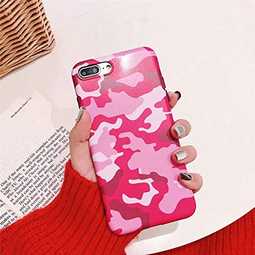 Twinlight Camouflage Case for iPhone 7 Army Protection Shockproof Silicone Phone Case for iPhone Plus 7 8 X Xs Max XR Cover (Pink, for iPhone 7plus 8plus)