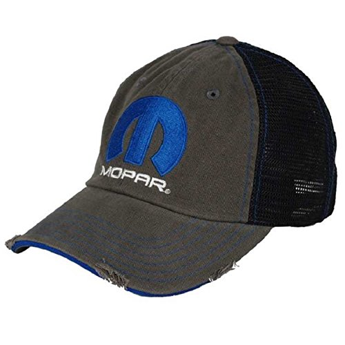 Mopar Parts Dodge Jeep Chrysler Plymouth Hat Distressed Style Charcoal Black Mesh (Plymouth Charcoal)