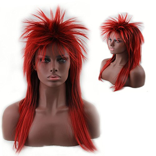 Women's 80's to the Maxx Spiky Rocker Wig Rock Star Red Spiked Wig (Cheap Coloured Wigs)