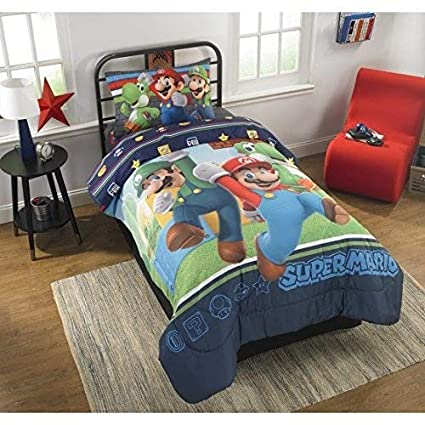Super Mario Bros Twin Comforter & Sheet Set (4 Piece Bed In A Bag)