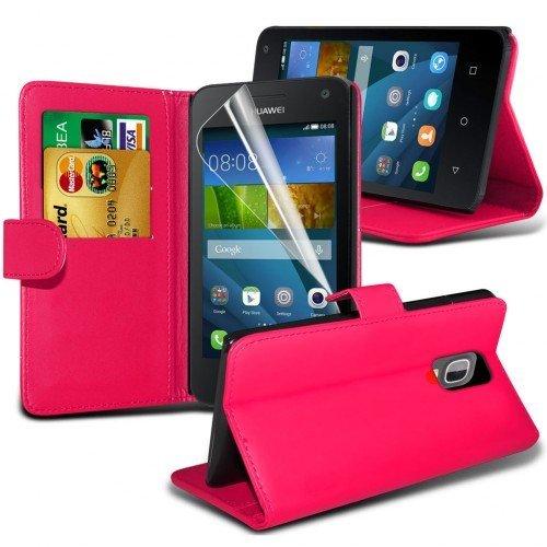 Huawei Ascend Y3 Cubierta del caso con cuero (Rosa caliente) Plus de regalo libre, Protector de pantalla y un lápiz óptico, Solicitar ahora mejor caja del teléfono Valorado en Amazon! By FinestPhoneCa