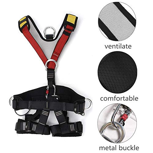 Kylinlkj Climbing Harness, Full Body Harness with Carabiner, Safety Seat Belts for High Lines and Climbing Towers, Fire Rescue Harness Caving Climbing Rappelling Equip (Equip Rescue)