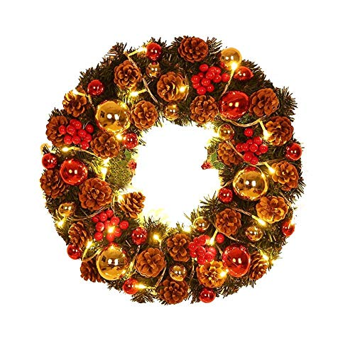 Xmas Wreath Door Wreath, Christmas Pine Cone Wreath Door Decoration Door Hanging for Home Window Party Decor,12-16 Inch,with Light