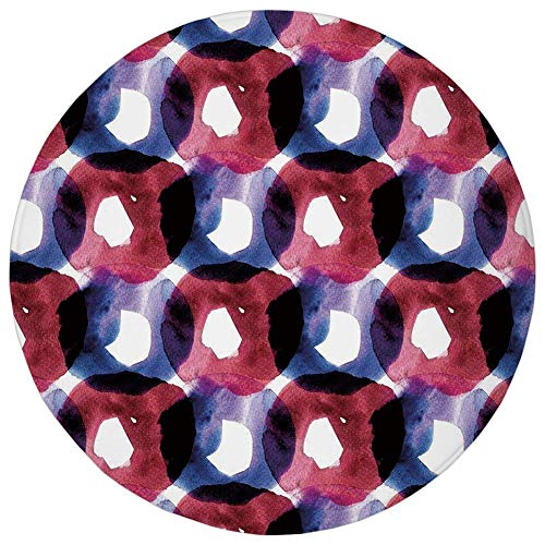 K0k2t0 Round Rug Mat Carpet,Abstract,Disc Shaped Circular Inner Ovals in Watercolor Artwork,Dark Coral Purple,Flannel Microfiber Non-Slip Soft Absorbent,for Kitchen Floor ()