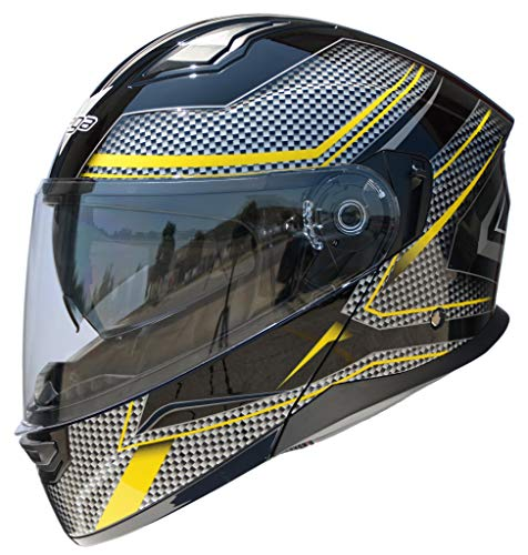 Vega Helmets Unisex-Adult Caldera Modular Motorcycle & Snowmobile Helmet 30% Larger Shield and Sunshield (Yellow Blade Graphic, Large