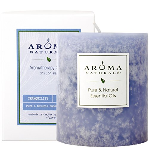 Aroma Naturals Lavender Essential Oil Blue Scented Pillar Candle, Tranquility, 3 inch x 3.5 inch