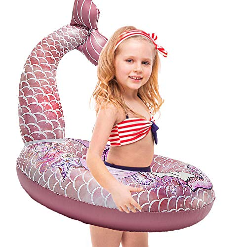 Mermaid Pool Float (Cute Mermaid Tail Pool Float - Happytime 30 Inches Cute Mermaid Inflatable Pool Float Swimming Ring Summer Party Beach Lounge Lilos for)