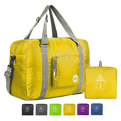"18"" Foldable Duffle Bag 30L for Travel Gym Sports Lightweight Luggage Duffel By WANDF, Yellow"
