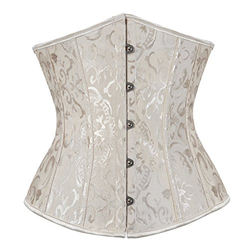 ce Up Boned Jacquard Brocade Waist Training Underbust Corset 6X-Large Beige ()