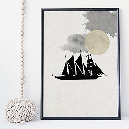 Simple zen black boat wall art print poster - unframed