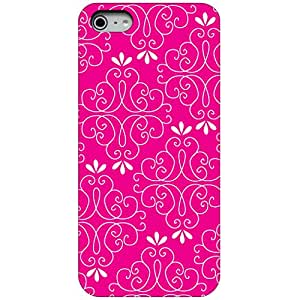 CUSTOM Black Hard Plastic Snap-On Case Cover for Apple iPhone 4 / 4S - Hot Pink White Floral