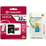 Transcend Premium 32GB MicroSDHC 90MB/s Class 10 UHS-1 Memory Card with Adapter,microSD Card Reader and PVC Pouch (TS32GUSDU1)