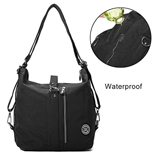 Shoulder Bags, Gracosy Fashion Nylon Backpack, Multi Function Sling Bag, Women's Handbags Light and Versatile Black 12X11X7inch