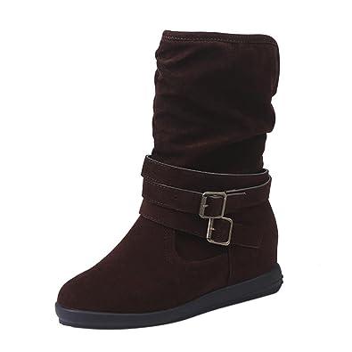 Femmes Bottes 2017 Bottes de neige Talons hauts Chaussures femme Bottes hiver Wedges Martin Bottes Chaussures,marron,41