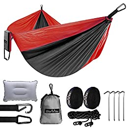 OlarHike Double Camping Hammock, Lightweight Portable Nylon 2 Person Hammocks with Tree Straps, 500lbs Capacity Hammock…