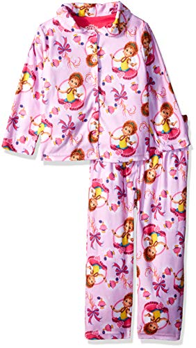 Disney Girls' Big Fancy Nancy 2-Piece Pajama Coat Set, Pink, 10 -