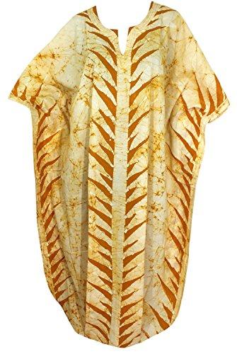 La Leela 100% delle donne in foglia di cotone mano batik camicia da notte lungo abito caftano d'oro