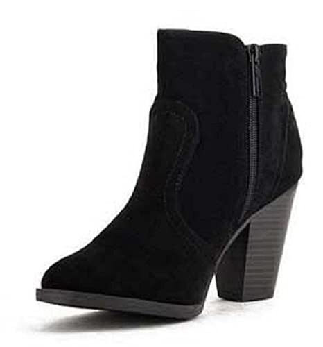 bfb4adf228f1a Breckelle's Women's Heather-34 Faux Suede Chunky Heel Ankle Booties ...
