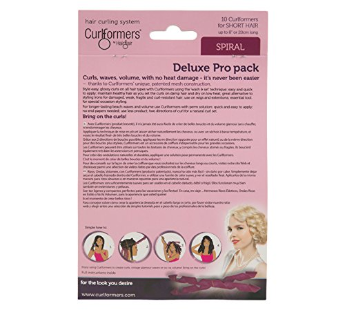 Curlformers Hair Curlers Deluxe Range short Spiral Curls Top Up pack, 10 No Heat Hair Curlers (Styling Hook not included), for short hair up to 8'' (20cm) long