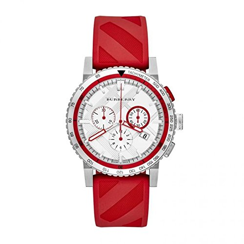 SALE! Authentic Burberry The City LUXURY Men Unisex Women 42mm Round Chronograph Watch Red Check Embossed Rubber Silicone Band White Tone Date Dial BU9809